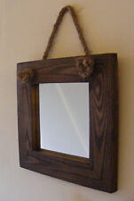Wall Hanging Small Rope Mirror / Rustic Solid Wood Square Mirror / Brown Finish