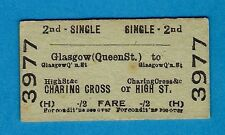Ticket - BR (H) 2nd Single: Glasgow (Queen St) to Charing Cross or High St: 1959