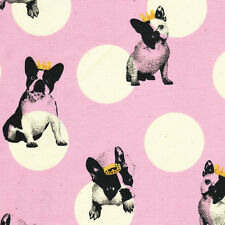 "KOKKA ""FRENCH BULLDOG"" Pink by the 1/2 yard"