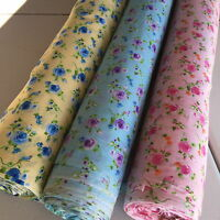 FLORAL PolyCotton fabric - Roses Blooming - Blue Purple Green Orange PInk Yellow