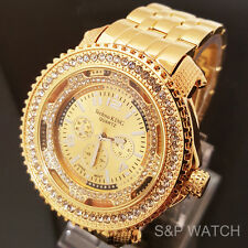 Men's Iced Out Bling Hip Hop Rappers Techno King Gold Tone CZ Luxury Dress Watch