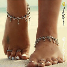 1 Pc Tibetan Boho Silver Foot Chain Dangle Flower Ankle Bracelet  Anklets #9