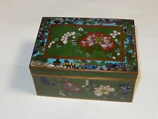 CHINESE BRONZE CLOISONNE GREEN FLORAL ENAMEL HUMIDOR BOX