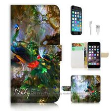 iPhone 6 Plus (5.5') Flip Wallet Case Cover! P0949 Peacock Painting