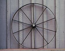 Old Vintage Antique Primitive Steel Spoke Wagon Cart Implement Wheel Farm Decr b