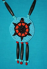 Beaded Turtle Rosette Necklace w/ Blk Horn Hairpipe  Native American Regalia #08