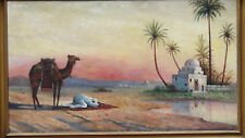 ANTIQUE ISLAMIC ORIGINAL OIL PAINTING OF ARABIC PRAYING MAN W/ CAMEL,SIGNED