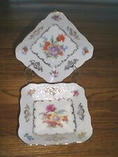 2 Schumann DRESDEN FLOWERS SQUARE DISHES/ BOWLS / Germany U.S.Zone / Bavaria