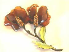 Vintage Cellulose Acetate Sweet Pea FLower Brooch  Large Japanned Root Beer  a15