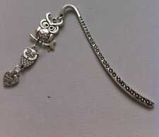 Tibetan Silver Bookmark - With Owl Charms - UK Seller - Perfect Gift