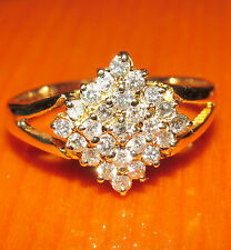 STUNNING SECONDHAND  9ct YELLOW GOLD DIAMOND CLUSTER RING SIZE P