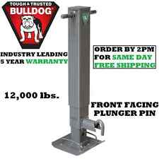 "BULLDOG SQUARE TRAILER JACK 12,000 lbs. DROP LEG W/ NON SPRING-RETURN 12.5"" LIFT"