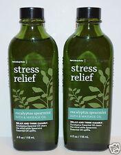 2 BATH & BODY WORKS AROMATHERAPY STRESS RELIEF EUCALYPTUS SPEARMINT MASSAGE OIL