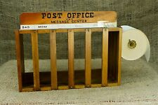 Vintage Post Office & Message Center Wood Mail Note Phone Organizer w/ Paper