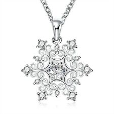 925 Sterling Silver Plated Crystal Rhinestone Flower Necklace & Pendant Jewelry