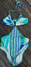 NWOT Trina Turk Swim And Spa Collection SIZE 6 MONOKINI BLUE GREEN PRINT