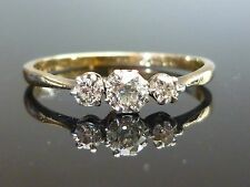 Stunning 18ct gold & Platinum 0.45ct 3 Old cut diamond ring QUALITY DIAMOND m7