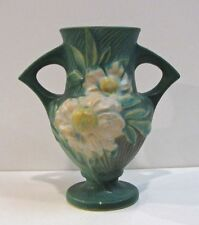 Vintage Roseville Peony Vase, Green, Double Handle, 168/6