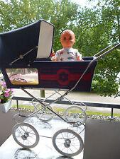 Nostalgie Puppenwagen, Panorama Puppenwagen, ZEKIWA? mit DDR Puppe 53 cm Alt