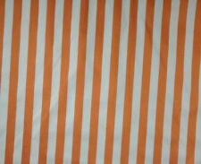 "00157 AWNING STRIPE ORANGE WHITE COTTON DRAPERY CUSHION FABRIC BY THE YARD 54""W"