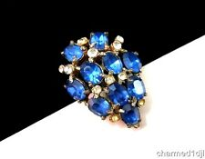 Art Deco Dress Fur Clip Royal Blue Clear Glass Rhinestone Silver Plated 1.5""