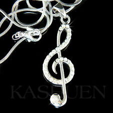 w Swarovski Crystal ~TREBLE CLEF Music Note Musical Jewelry Pendant Necklace NEW