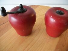 Vintage Retro Wooden Red Apple Salt Shaker & Pepper Grinder