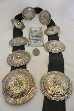 14+ozt. SUSIE JAMES Navajo CONCHO BELT Exquisite Stamping Sterling Silver Suzie