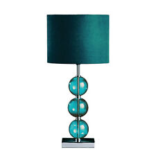 CHROME BASE MISTRO TABLE LAMP 3 GLASS BALL SUEDE SHADE FOR LIVING ROOM & BEDROOM