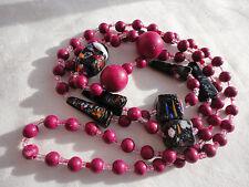 """Cinque forme rosso ciliegia resina rosa Nero/Multi Murano Glass 32"""" 41 grammo Collana"""