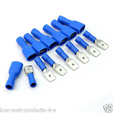 50 EACH BLUE 4.8MM FULLY INSULATED MALE & FEMALE SPADE CRIMP CONNECTOR CABLE UK