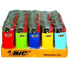 50 BIC Classic Mini Size Disposable Lighters With Tray Assorted Colors