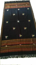 UK Large Embroidered Shawl Wool Black Hand Loomed in Kutch Handwoven Handcrafted