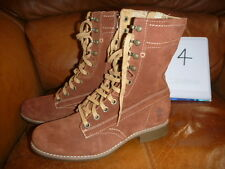 TIMBERLAND EARTHKEEPERS SIZE UK 4 LADIES CALF BOOTS SUEDE LEATHER BROWN