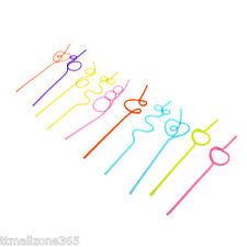 10 Pcs Plastic Party Crazy Curly Loop Coloured Drinking Straws Colorful