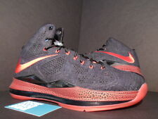 Nike LEBRON X 10 EXT DENIM QS PE PROMO SAMPLE BLACK RED BRED MIAMI HEAT AWAY NEW