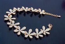 Full Rhinestone Flower Snowflake Crystal Golden Charm Bracelet Women Girls Gift