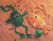 Crochet Pattern ~ FROG & FISH BAGS Pouches Toy ~ Instructions