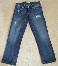 Aeropostale Jeans Sz 0 x 23 1/2 Cropped Skinny Distressed Med Wash Low Rise