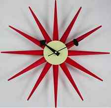 mid century danish modern nelson style red sunburst star wall clock