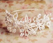 Crystal Hair Headband Floral Bridal Headpiece Pearls Wedding Accessories 1 Piece