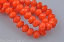 72pcs 6x4mm Faceted Rondelle Spacer Loose Crystal Glass Beads Jade Orange