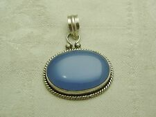 GREAT STERLING SILVER BLUE TRANSPARENT AGATE PENDANT NECKLACE N154-G