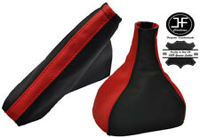 RED BLACK LEATHER FOR VAUXHALL OPEL ASTRA TWINTOP 2005-2010 GEAR HANDBRAKE SET