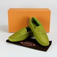$425 NEW Tods Green Gommino Leather Drivers Loafer Moccasins Shoes 6 39 ITALY