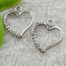 Free Ship 160 pieces tibet silver heart charms 25x22mm #2386