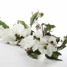 White Poinsettia Swag for Christmas Holiday Home Decor Lot of 3 (NEW)