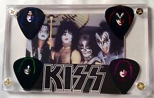 LOOK - KISS Cornerstone #38 group card & All 4 Solo faces guitar pick display!!!