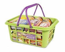 Kids Toy Food Shopping Basket Play Boxes Tins and Cartons Pretend Grocery CASDON