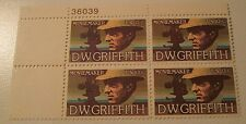 1975 Scott 1555 D. W. Griffith USPS block of four new 10 cent stamps